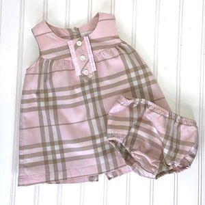 BURBERRY PINK & BROWN PLAID SLEEVELESS DRESS 6 M